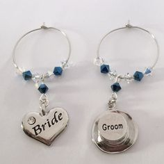 Wine Glass Charms - Bride and Groom - Top Hat and Heart - Wedding Favours - Top Table Decorations - Bridal Party Wedding Favours, Wedding Gifts, Guest Gifts, Wine Glass Charms, Wine Parties, Wedding Accessories, Bride Groom, Wedding Table, Swarovski Crystals