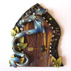 Blue Dragon Fairy Door Pixie Portal by Claybykim on Etsy