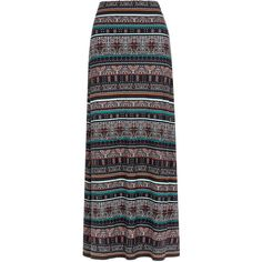 Iona Print Maxi Skirt (225 PEN) ❤ liked on Polyvore featuring skirts, saias, bottoms, maxi skirt, patterned maxi skirt, jersey knit skirt, print skirt, floor length skirt and tribal print long skirt