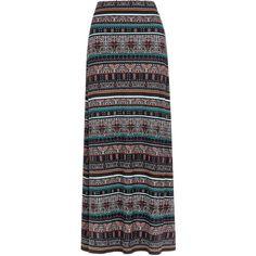 Iona Print Maxi Skirt ($68) ❤ liked on Polyvore featuring skirts, saias, bottoms, maxi skirt, tribal skirt, print maxi skirt, jersey knit skirt, elastic waist skirt and long skirts