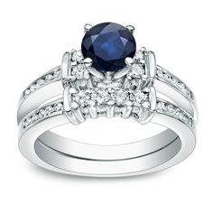 Auriya Platinum 3/5ct Blue Sapphire and 2/5ct TDW Round Cut Diamond Bridal Ring Set