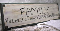 Family Sign Handpainted Wall Decor Cottage Rustic by wallwhispers, $28.00