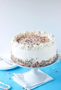 Birthday Ice Cream Cake - a vanilla cake sandwiched between vanilla ice cream.