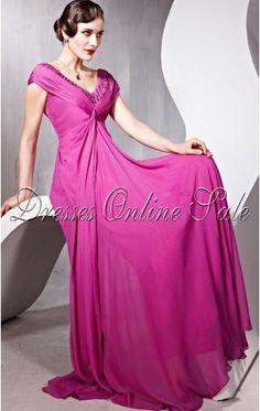 Pretty A-line Floor-length V-neck Fuchsia Chiffon Dress
