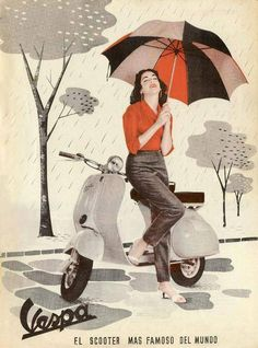vespa ad scooter in the rain.