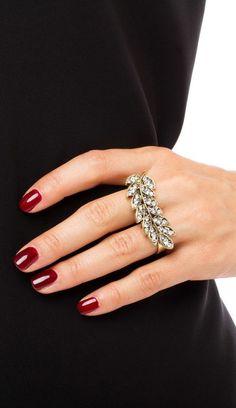 Rhinestone-embellished, two-finger leaf ring. ==