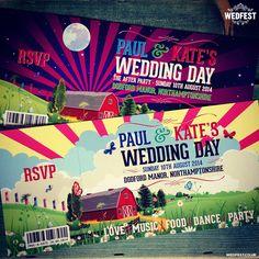 festival barn themed wedding invitations - http://www.wedfest.co/festival-wedding-invites/