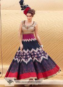 Beige & Purple Digital Print Gown