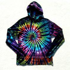 Tie Dye Hoodie Inverted Rainbow Spiral Long by TieDyeBySandy, $32.50
