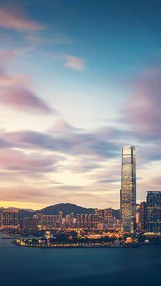 Hong Kong Sunset Skyscraper City Bay #iPhone #5s #wallpaper