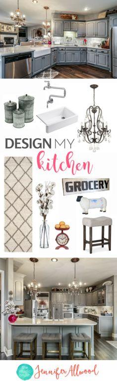 Kitchen Design Ideas + Gray Kitchen Cabinets + Marble Tile Kitchen + Kitchen Decor by Jennifer Allwood