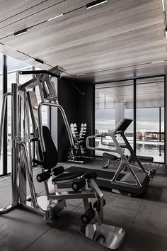 BY THE SEA HOUSE on Behance Gym Interior, Interior Desing, Gym Architecture, Innovation, House By The Sea, Gym Design, Spacious Living Room, Decorative Panels, Minimalist Interior