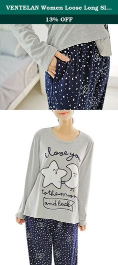 """VENTELAN Women Loose Long Sleeve Sleepwear Nightgown Fashion Star & Moon Pjs Set. This pajamas is US Size,made of high quality.Fit well and comfortable to wear. Measurement Women XS(USA Size:0-2):Clothes Length 31.5"""",Bust 39.5"""",Pants Length 37.0"""",Hip 37.4"""" Women S(USA Size:4-6):Clothes Length 32.6"""",Bust 42.5"""",Pants Length 37.7"""",Hip 39.3"""" Women M(USA Size:8-10):Clothes Length 33.5"""",Bust 45.2"""",Pants Length 38.5"""",Hip 41.3"""" Women M(USA Size:12-14):Clothes Length 34.6"""",Bust 47.2"""",Pants Length..."""