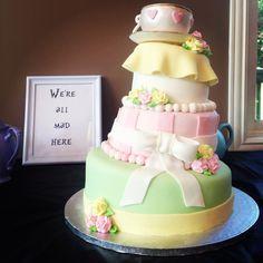 The Gorgeous Alice In Wonderland Baby Shower Cake. YUM! #aliceinwonderland