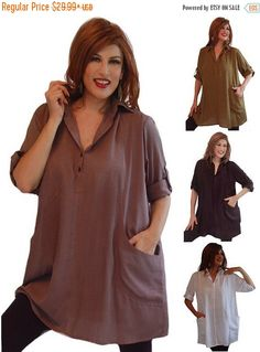 22% STOREWIDE FALL SALE L291 Shirt Blouse Tunic Top Button Collar Pockets Sporty Casual Fashion Style Made to Order Lotustraders Choose your by LotusTradersClothing on Etsy https://www.etsy.com/listing/228119695/22-storewide-fall-sale-l291-shirt-blouse
