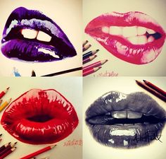Lip study pastels, watercolours and charcoal by iLoveHash