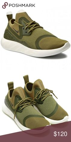 Nike LunarCharge Essential Camper Green NEW WITHOUT TAGS.   Leather, synthetic leather or textile upper depending on colour. Bootie construction delivers a sock-like fit. Lunarlon midsole for a smooth ride. Laser-siped outsole pods for flexibility and multi-surface traction. Pull tab on heel for easy on and off Nike Shoes Sneakers