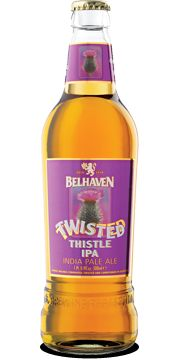 Belhaven Twisted Thistle  A stunning India Pale Ale (IPA), don't think that Belhaven's Twisted Thistle has anything jaggy, spikey, prickly or otherwise pain-inflicting in its nature. Quite the opposite. Your taste buds will tingle with pleasure after a sip or two of this golden nectar. A real treat from our master brewers in Dunbar, Scotland.
