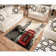 Terra London Rectangle Area Rug Black/White/Red looking for a rug to go with Traci's new red leather love seat London Decor, Room London, London Bedroom Themes, Villas, British Decor, Paris Rooms, Rectangle Area, Modern Area Rugs, My Living Room