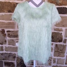 Ann Taylor green top Beautiful!  Never worn, removed tag.  Security tag is still attached inside.  Silky feel, with silk looking strands coming off top. Ann Taylor Tops