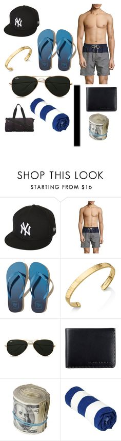 """""""Fred day at the beach"""" by serafina-black ❤ liked on Polyvore featuring New Era, SELECTED, Hollister Co., Monica Vinader, Topman, Status Anxiety, John Elliott, men's fashion and menswear"""