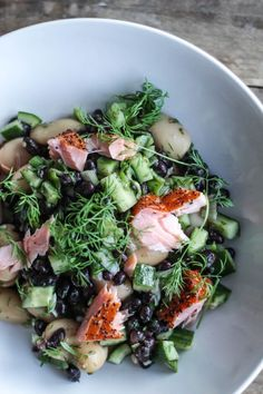 BLACK BEANS AND BUTTER BEANS WITH HOT SMOKED SALMON, DILL AND MUSTARD DRESSING