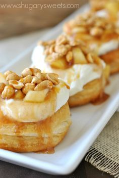 Apple Pie Doughnuts: Easy gourmet doughnuts made in 30 minutes. #Pillsbury grands doughnut #gourdoughs