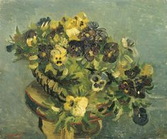 Vincent van Gogh - Tambourine with Pansies Vincent Van Gogh, Google Art Project, Pierre Auguste Renoir, Claude Monet, A4 Poster, Poster Prints, Van Gogh Prints, Canvas Art Prints, Oil On Canvas
