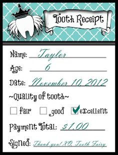 Tooth Fairy free printable tooth receipt  free tooth fairy receipt  http://ohmygluestick.com