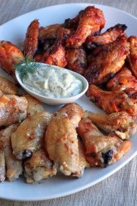 Chicken Wings!  Lots and lots of different types of chicken wings with different seasonings and veggies on the side (Hot sauce not allowed but herbs and olive oil are good)