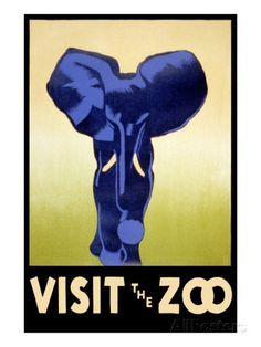 Visit the Zoo - Elephant Charging Póster en AllPosters.es