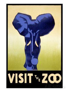 Visit the Zoo - Elephant Charging Kunstdruk