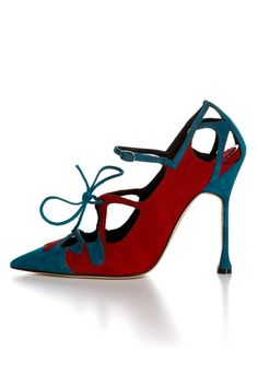 fall 2012, Manolo Blahnik, shoes, high heels, blue, red