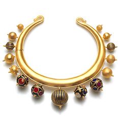 Ara Necklace<br />Base Metal with 18k Yellow Gold plating and Enamel