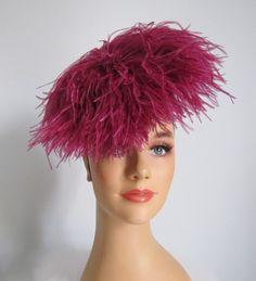 Vintage 1930s 40s Fuchsia Feather Tilt Hat.