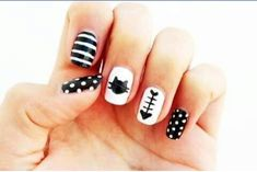 Curly Made: DIY Cat Nails and like OMG! get some yourself some pawtastic adorable cat apparel! Cat Nail Art, Animal Nail Art, Cat Nails, Coffin Nails, Fancy Nails, Love Nails, Trendy Nails, Nail Art Brushes, Nagel Gel