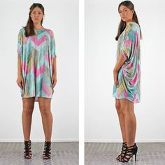 PinkCad Pink Aqua & Stone Snake Print Silky Batwing Zig Zag Dress £18.99 Available Instore And Online www.pinkcadillac.co.uk