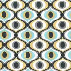 Fq - feeling groovy - grey aqua - michael miller cotton fabric novelty mod chic