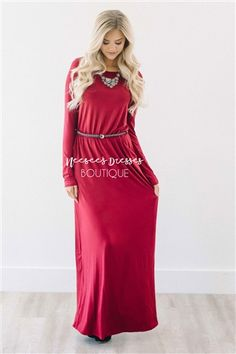 Burgundy Long Sleeve Belted Maxi Dress