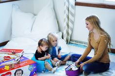 cute family picture in a playroom
