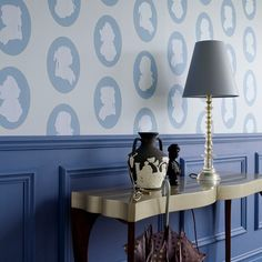 The regal look on wallpaper above the dado rail for hallway decorating ideas Hallway Wallpaper, Hallway Walls, Dining Room Walls, Wallpaper Ideas, Hallways, Hallway Ideas, Dado Rail Hallway, Upstairs Hallway, Long Hallway