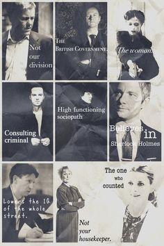 Sherlock BBC. Greg Lestrade, Mycroft Holmes, Irene Adler, Jim Moriarty, Sherlock Holmes, John Watson, Anderson, Mrs. Hudson, Molly