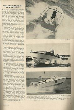 "Coverage from Yachting Mag June 1960, after the original Bertram 31 ""Moppie"" shattered the record for the Miami-Nassau Boat Race"
