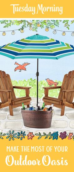 From patio furniture to lawn dècor, stylish outdoor deals are always at Tuesday Morning — so you can bring home more of what you love. Backyard Plan, Backyard Landscaping, Backyard Designs, Outdoor Kitchen Patio, Outdoor Living, Diy Party Designs, Shade Umbrellas, Pool House Plans, Tuesday Morning