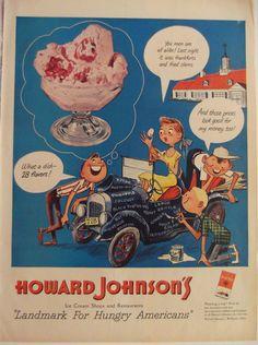 1951 HOWARD JOHNSON'S Ice Cream Shops & by BorderLineArt on Etsy, $6.50