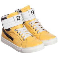 Fendi Boys Yellow Leather High-Top Trainers at Childrensalon.com