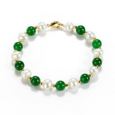 Green Chalcedony and Freshwater Pearl Beaded Bracelet Gemstone Jewelry Gold Pearl Ring, Single Pearl Necklace, Baroque Pearl Necklace, Pearl Jewelry, Gemstone Jewelry, Pearl Necklaces, Freshwater Pearl Bracelet, Pearl Beads, Chakra Bracelet