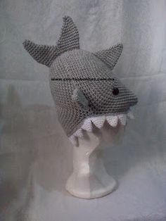 † ★Enedina Nava ★ † blackmoon ★ †: Shark Hat Crochet....Gorro de Tiburon Tejido en Crochet