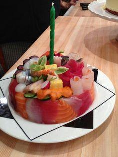 sashimi birthday cake