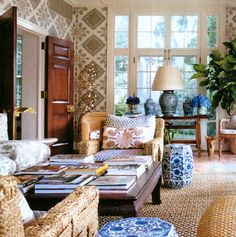 WSH loves garden seats as side tables and extra sitting. Tory Burch's house for Vogue. Via chinoiserie chic.